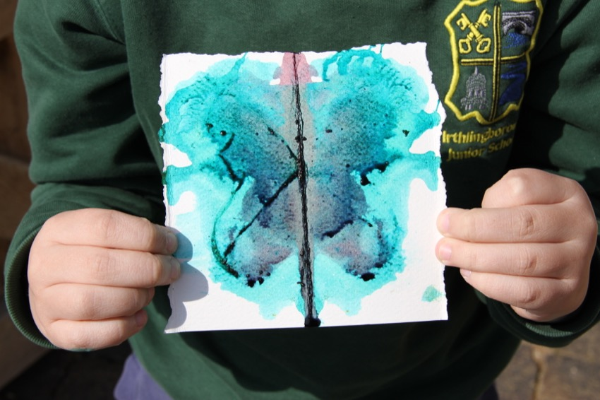 Pupil holding ink blot produced during Blood from Stone workshop
