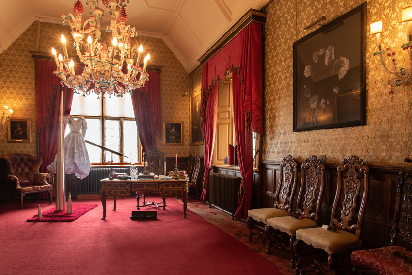 The flimsy copy, installation view - Sarah Gillett, 2021 - The Howse Shal Be Preserved at Rockingham Castle - photo Andy Eathorne