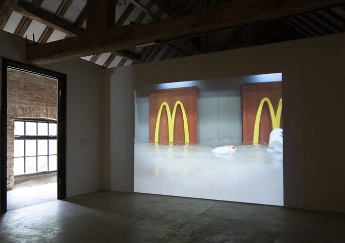 Flooded McDonald's, 2009, SUPERFLEX - Where to Stand in the Wind at East Carlton Park, curated by Yasmin Canvin in partnership with Fermynwoods Contemporary Art. Photo New Leaf Photography 2021